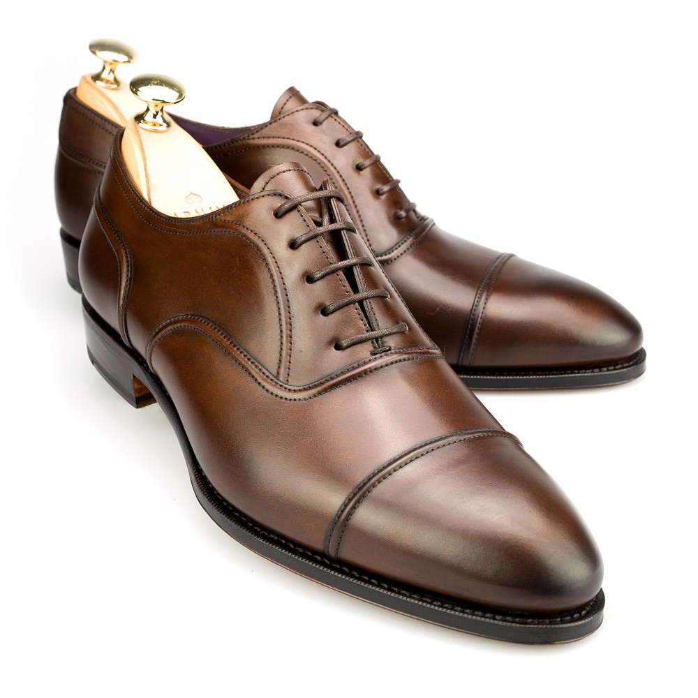 Oxford shoes: Cap-toe brown oxfords by Carmina