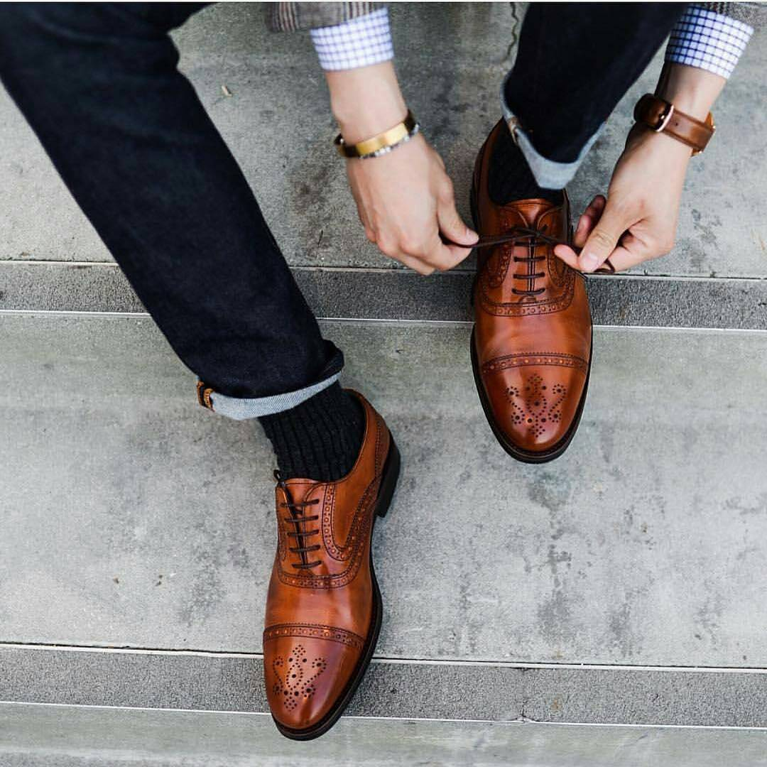 Cap-toe brown brogues