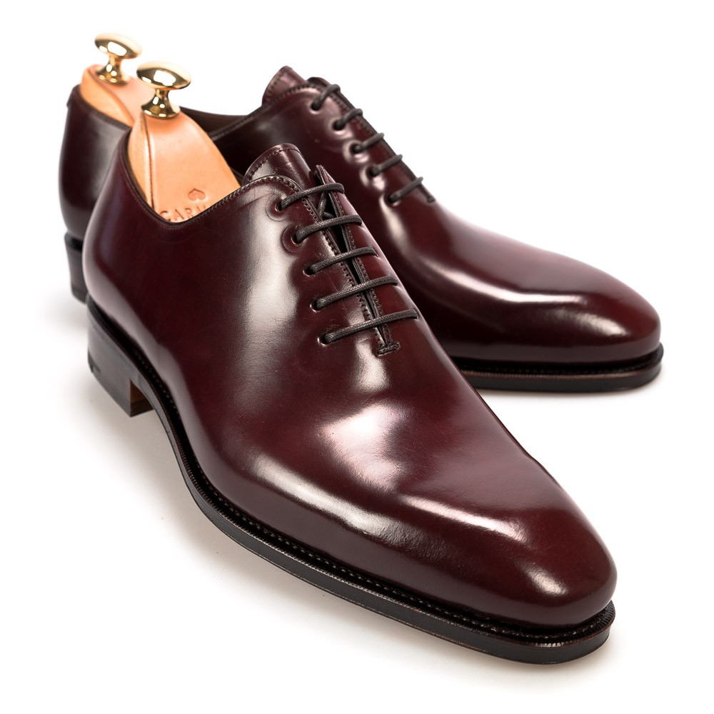 Oxford shoes: Whole-cut cordovan burgundy oxfords by Carmina
